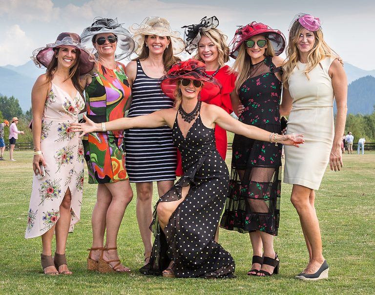 Women in party dresses at the annual Seattle Polo Club event.